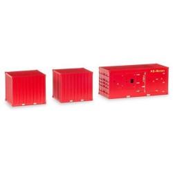 Set de 3 containers pompiers : 1 groupe-électro & 2 containers 10'
