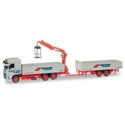 """Daf XF SC E6 camion + remorque à ridelles & grue de chargement """"Wormser"""""""