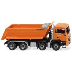 MAN TGS M E6 camion benne 8x4 orange (bâche repliée)