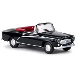 Peugeot 403 cabriolet ouvert noir avec lignes grises métallisées