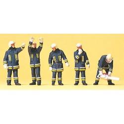 Set de 5 pompiers en tenue d'intervention et accessoires