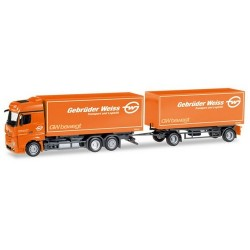"""MB Actros Bigspace '11 camion + rqe Pte caisses 'Gebrüder Weiss"""" (A)"""