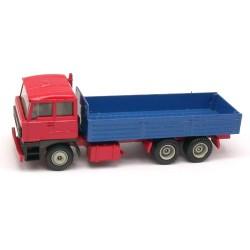 Daf 3300 camion 6x4 à ridelles basses bleues (cabine rouge)