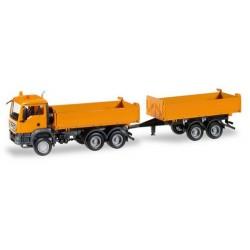 MAN TGS M E6 camion + remorque benne auto-portante orange