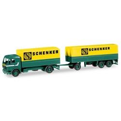 "MB NG 80 camion + remorque bâchée 3 essieux ""Schenker"""