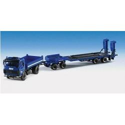 MB 2628AK camion benne + remorque à 4 essieux porte-engin de 40