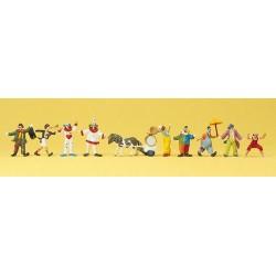 Set de 9 clows en tenue et poney