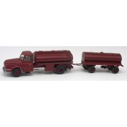 Willeme LD 610 camion + remorque citerne à vin rouge bordeaux