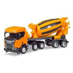 Scania CR XT 6x2 + semi-remorque toupie à béton orange