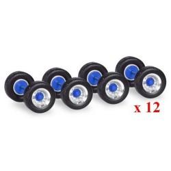 Set de 12 jeux de roues à pneus larges pour semi-remorques (jantes chromées à moyeu bleu)