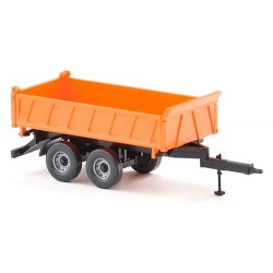 remorque tri-benne autoportnte à 2 essieux orange