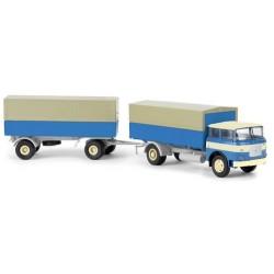 Liaz/Skoda 706 camion + remorque bâchée (bleu à bande et jantes blanches)