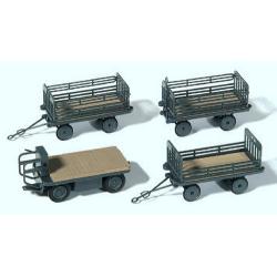 Set de chariot de quai de gare & 3 remorques (kit à monter)