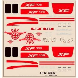 Planche de décalcomanie pour Daf XF 106 (couleur rouge)