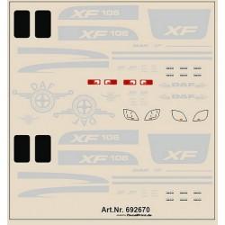 Planche de décalcomanie pour Daf XF 106 (couleur argent)