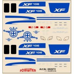 Planche de décalcomanies piur Daf XF 106 (couleur bleu foncé)