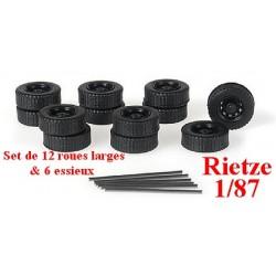 Set de 6 roues larges (diamètre : 12 mm - taille : 4,5 mm) - jantes gris alu