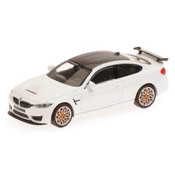 BMW M4 GTS 2016 blanche à jantes chromées et oranges