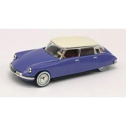 Citroen DS19 berline 1959 bleu delphinium à toit blanc