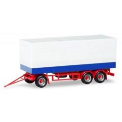remorque bâchée à 3 essieux (châssis rouge)