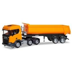Scania CR ND XT 6x2 + semi-remorque benne Carnehl orange