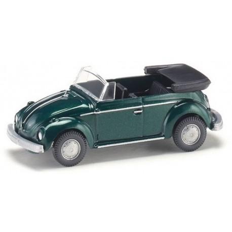 VW Coccinelle cabriolet ouvert vert foncé métallisé (1964)