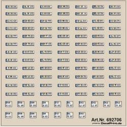 Planche de décalcomanies de plaques d'immatriculation allemandes modernes