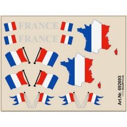 Planche de décalcomanies Drapeaux tricolores et Carte de France