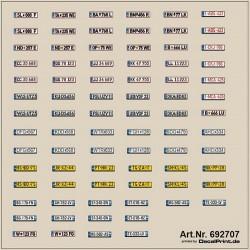 Planche de décalcomanies de plaques d'immatriculation européennes modernes