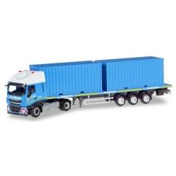 """Iveco Stralis XP + semi-remorque plateau & 2 containers 20'""""Felbermayr"""" (A)"""