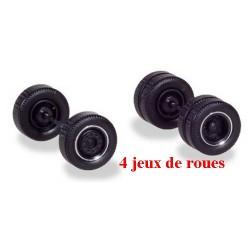 Set de 4 jeux de roues larges pour tracteur (essieu avant et moteur) - chromées à moyeu noir
