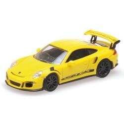 """Porsche 911 GT3 RS 2015 jaune avec marquages latéraux noirs """"Porsche"""""""