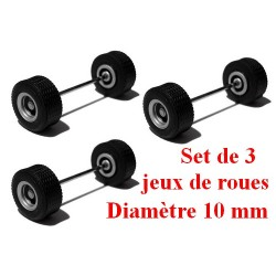 Set de 3 jeux de roues gris alu pour Megatrailer (diamètre 10 mm - largeur 5 mm)