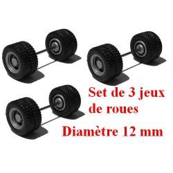 Set de 3 jeux de roues motrices jumelées gris alu (diamètre 12 mm)