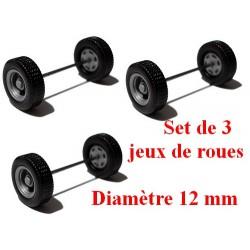 Set de 3 jeux de roues pour remorques et semi gris alu (diamètre 12 mm)