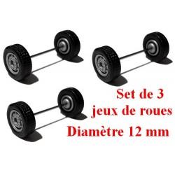Set de 3 jeux de roues larges gris alu (diamètre 12 mm)