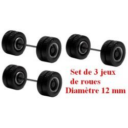 Set de 3 jeux de roues motrices jumelées gris alu - moyeu noir (diamètre 12 mm)