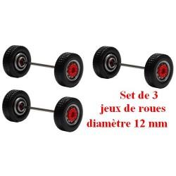 Set de 3 jeux de roues larges gris alu à moyeu rouge (diamètre 12 mm)