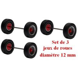 Set de 3 jeux de roues pour remorque et semi gris alu à moyeu rouge (diamètre 12 mm)