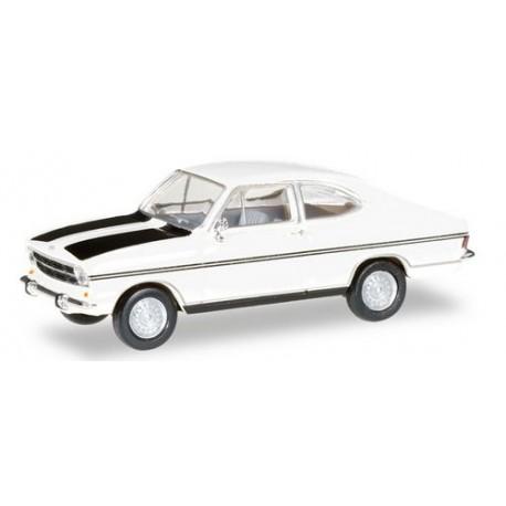 Opel Kadett B coupé blanche à bandes noires