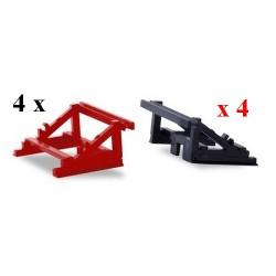 Set de 8 cales de chargement lourd (4 rouges & 4 noires)