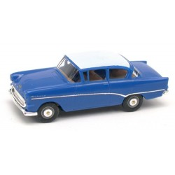 Opel Rekord PI berline 1957 bleu à toit blanc