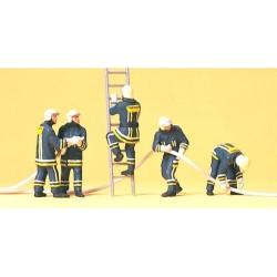 Set de 5 Sapeurs pompiers en intervention