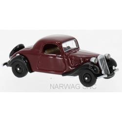 """Citroen Traction Avant 1936 """"faux cabriolet"""" rouge bordeaux et ailes noires"""