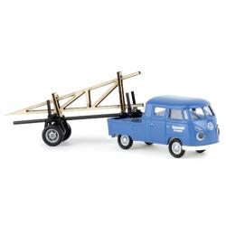 VW T1 b pick-up cabine double avec remorque Transport d'armature en bois