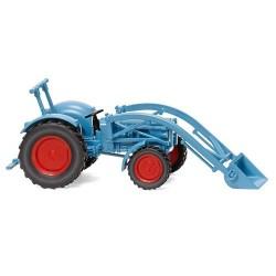 Tracteur agricole Eicher Königstiger avec godet de chargement bleu ciel (1959)