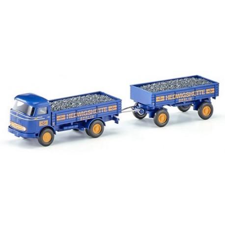 """MB LP 321 camion + remorque à ridelles """"Hedwigshütte"""" (1957) avec chargement de charbon"""