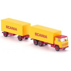 """Scania 111 camion + remorque fourgon  """"SCANIA"""" (1975) avec portes ouvrantes"""