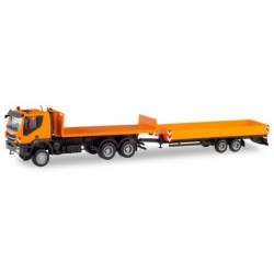 Iveco Trakker camion Porte plateau 6×6 + remorque à ridelles orange