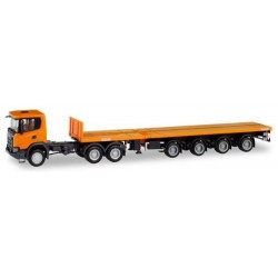 Scania CG 17 XT 6x6 + semi-remorque plateau Teletrailer orange